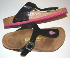 Birkenstock Gizeh Black Patent Sandals with Pink Soles Womens Size 38 /US 7- 7.5