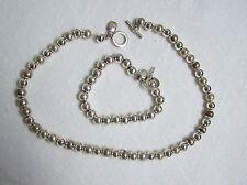 RALPH LAUREN Silvertone Bead Necklace & Bracelet