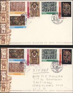 PERU, 1971. First Day Covers 543-544, C306-308, Textile Designs (2)