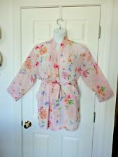 Victoria's Secret Pink Floral PRINT Semi Sheer Kimono Short Belted Robe 0/S