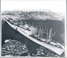 1960 Wire Photo Aerial Swedish Tanker Ship SS Cumulus