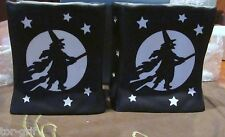 PARTYLITE (2) WITCH VOTIVE LUMINARY BAG~HALLOWEEN READY~NEW IN BOX~BLACK  BAGS