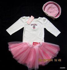Gymboree Kitty Ballerina One Piece Top Shirt Hat Tutu Pink Wine 3-6-9-12 NWT New