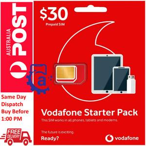 Vodafone Pre-Paid Starter Pack $30 $40 $50 Trio SIM Free Same Day Shipping