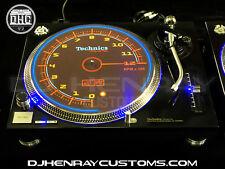 2 custom gloss black powder coated Technics SL1210 mk2 blue leds halo turntables