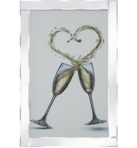 Champagne Glasses Heart Splash Mirrored Frame Wall Mirror100x60cm Wedding gift