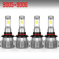 4PCS 9005 9006 LED Total 3600W Combo Headlight Kit Bulbs 6000K White Hi-Lo Beam