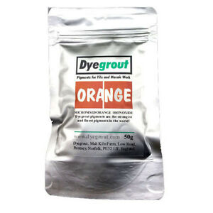 50 grams - Orange Grout Pigment for Mosaics Cement Dye by Dyegrout