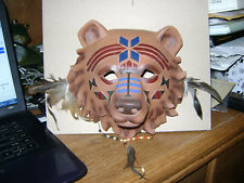 Western American Decor Bear Wall Mask With Feathers And Beads