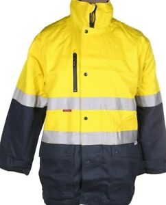 Hard Yakka 4 in 1 Cotton Drill Yellow/Green Jacket (L) 3M Reflective Strip
