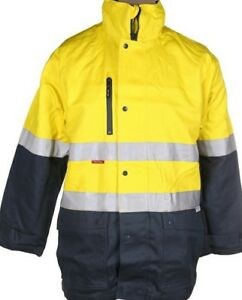 Hard Yakka 4 in 1 Cotton Drill Yellow/Green Jacket (2XL) 3M Reflective Strip