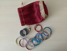 Assorted bangles from India - pink, blue, gold