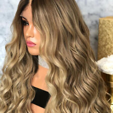 Fashion Women Human Hair Wig Body Wavy Full Wigs Natural Ombre Blonde #AM8