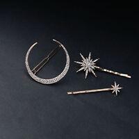 3Pcs/set Rhinestone Moon Star Hair Clips Vintage Hair Pin Hair Accessories