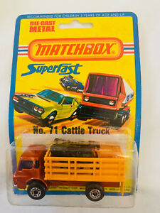 UNOPENED 1976 Matchbox Superfast No 71 Cattle Truck On Card