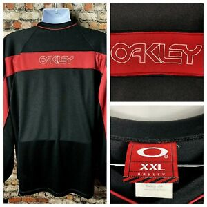 Vintage 90s Oakley Embroidered Logo Jersey Long Sleeve Shirt Spellout XXL 2XL @@