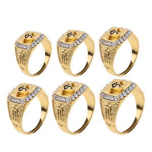 Gold Tone Stainless Steel CZ Masonic Rings Men Enamel Freemasonry Icon Size 8-13