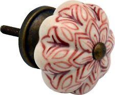 Bouton en céramique Porte d'armoire armoire Poignée - Fleur - x1 rouge foncé