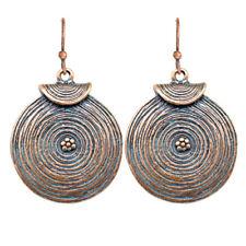 Small Dangle Earrings Ethnic Round Hippie Boho Bronze VTG Tribal Antique Tibetan