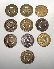 VINTAGE LOT OF 10 CHICAGO TRANSIT AUTHORITY CTA TOKENS  20mm