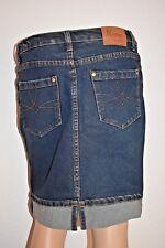 NIAMA Conbipel JUPE femme jean bleu denim courte droite fendue 36-S TBE !