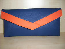 ROYAL BLUE & ORANGE envelope faux leather clutch bag made in the UK