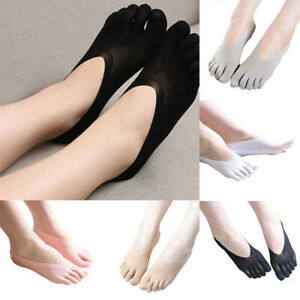 4 Pairs Women Five Finger Toe Socks Invisible Nonslip Ankle No Show Low Cut Sock