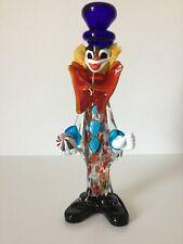 XXL Bunter Murano Glas Zirkus Clown Figur Made in Italy 42 cm Groß Big Rar
