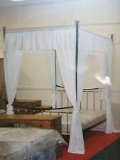 Four Poster Lace Drapes With Matching Pillowcases And Bedspread NEW
