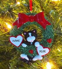 Tuxedo Cat In Christmas Wreath Personalized Christmas Tree Ornaments