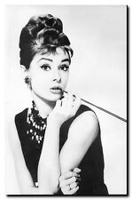 "Audrey Hepburn Cigarette *FRAMED* CANVAS ART Black & white photo 16""X 12"""