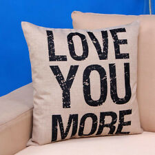 Love you More Cotton Linen Cushion Throw Pillow Cover Sofa Bed Decoration Pillow