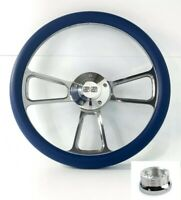 """14"""" Billet Steering Wheel (Royal Blue Wrap, Chevy SS Horn Button, Adapter A01)"""