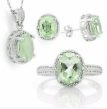 GREEN AMETHYST & DIAMOND NECKLACE EARRINGS AND RING SET 6.43 CWT NATURAL SILVER