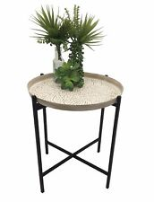 BOHO PRESSED METAL EMBOSSED DECORATIVE SIDE TABLE WITH WASHED TOP / GOLD TOP