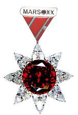 Glitzernder, silberner Cubic Zirkonia Schmuckorden Brosche Medaille roter Herren