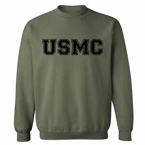 """USMC"" Athletic Marines Crewneck Sweatshirt in Military Green -  - Adult S -5XL"