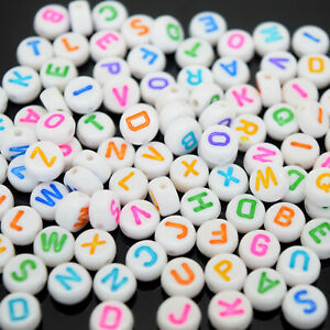 200 X ACRYLIC LETTER ROUND BEADS WHITE MIXED COLOUR 7X4MM FOR JEWELLERY MAKING