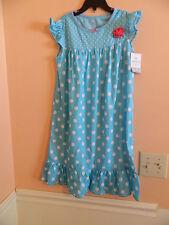 NWT Carters girls nightgown short sleeve teal w/white polka dots ruffle bottom L