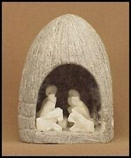 HAND CARVED Stone NATIVITY SCENE Joseph  Mary  Baby Jesus  # 637nnn