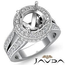 Diamond Engagement Semi Mount Ring 18k White Gold Halo Setting Split Shank 1.3Ct