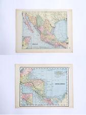 Mexico & Central Latin America - Rare Original 1893 Antique World Atlas Maps