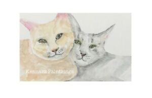 Ginger & Grey Cat Portrait Watercolour Original Painting By Kenna Unframed