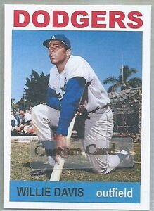 WILLIE DAVIS LOS ANGELES DODGERS 1964 STYLE CUSTOM MADE BASEBALL CARD BLANK BACK