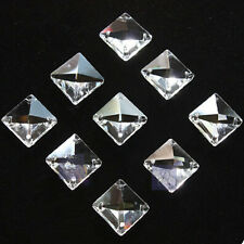 50pcs 14mm Clear Glass Square Crystal Beads Prisms Chandelier Lamp Chain Parts