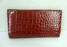 Stone Mountain Wallet Croco Embossed Ladies Tri Fold Snap Closure Pink Patent