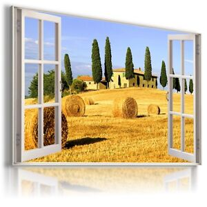 FIELDS OF GOLD 3D Window View Canvas Wall Art Picture Large SIZES W307  MATAGA .