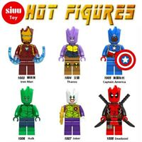 6 X MARVEL DC FIT LEGO GROOT TYPE MINI FIGURES THANOS IRON MAN HULK DEADPOOL TOY