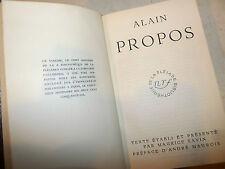 Narrativa Letteratura Francese - Alain: Propos 1956 La Pleiade ex libris