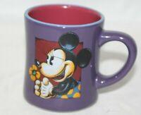 Disney MINNIE MOUSE Flower Purple Coffee Mug Tea Cup Blue Rim 2 sided New